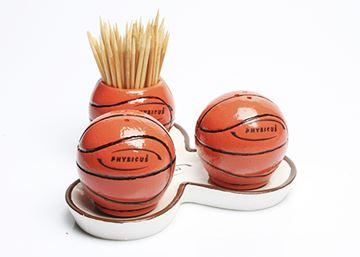 Imagem de Conjunto de Saleiro, Pimenteiro e Paliteiro de Bola de Basquete