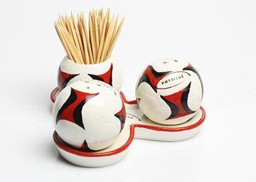 Imagem de Conjunto de Saleiro, Pimenteiro e Paliteiro de Bola de Futsal