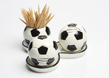 Imagem de Conjunto de Saleiro, Pimenteiro e Paliteiro de Bola de Futebol