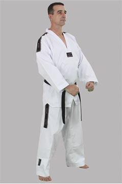 Imagem de Dobok Canelado Adulto Branco com Gola Branca – A2
