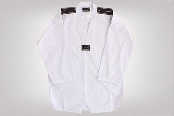 Imagem de Dobok Canelado Adulto Branco com Gola Branca – A3