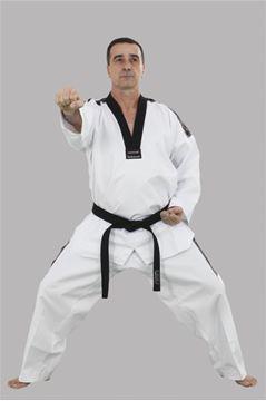 Imagem de Dobok Canelado Adulto Branco com Gola Preta – A2
